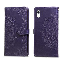Embossing Imprint Mandala Flower Leather Wallet Case for iPhone Xr (6.1 inch) - Purple