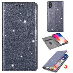 Ultra Slim Glitter Powder Magnetic Automatic Suction Leather Wallet Case for iPhone Xr (6.1 inch) - Gray