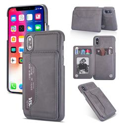 Luxury Magnetic Double Buckle Leather Phone Case for iPhone Xr (6.1 inch) - Gray