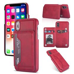 Luxury Magnetic Double Buckle Leather Phone Case for iPhone Xr (6.1 inch) - Red
