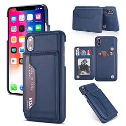 Luxury Magnetic Double Buckle Leather Phone Case for iPhone Xr (6.1 inch) - Blue