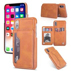 Luxury Magnetic Double Buckle Leather Phone Case for iPhone Xr (6.1 inch) - Brown