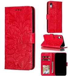 Intricate Embossing Lace Jasmine Flower Leather Wallet Case for iPhone Xr (6.1 inch) - Red