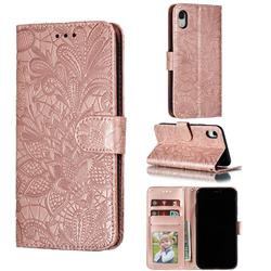Intricate Embossing Lace Jasmine Flower Leather Wallet Case for iPhone Xr (6.1 inch) - Rose Gold