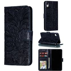 Intricate Embossing Lace Jasmine Flower Leather Wallet Case for iPhone Xr (6.1 inch) - Dark Blue