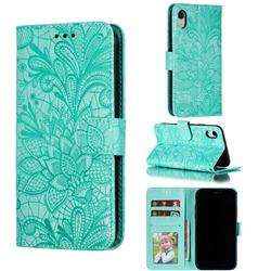 Intricate Embossing Lace Jasmine Flower Leather Wallet Case for iPhone Xr (6.1 inch) - Green