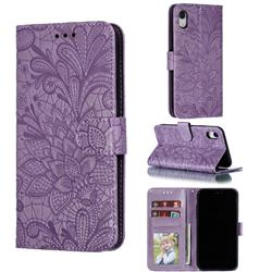 Intricate Embossing Lace Jasmine Flower Leather Wallet Case for iPhone Xr (6.1 inch) - Purple