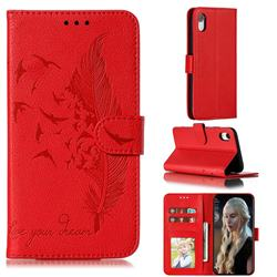 Intricate Embossing Lychee Feather Bird Leather Wallet Case for iPhone Xr (6.1 inch) - Red