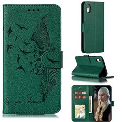 Intricate Embossing Lychee Feather Bird Leather Wallet Case for iPhone Xr (6.1 inch) - Green
