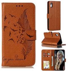 Intricate Embossing Lychee Feather Bird Leather Wallet Case for iPhone Xr (6.1 inch) - Brown