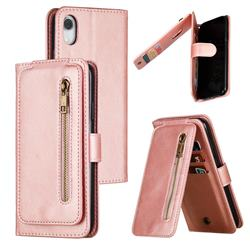 Multifunction 9 Cards Leather Zipper Wallet Phone Case for iPhone Xr (6.1 inch) - Rose Gold