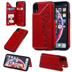 Yikatu Luxury Cute Cats Multifunction Magnetic Card Slots Stand Leather Back Cover for iPhone Xr (6.1 inch) - Red