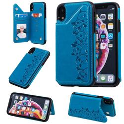 Yikatu Luxury Cute Cats Multifunction Magnetic Card Slots Stand Leather Back Cover for iPhone Xr (6.1 inch) - Blue