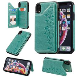 Yikatu Luxury Cute Cats Multifunction Magnetic Card Slots Stand Leather Back Cover for iPhone Xr (6.1 inch) - Green
