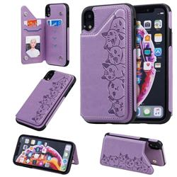 Yikatu Luxury Cute Cats Multifunction Magnetic Card Slots Stand Leather Back Cover for iPhone Xr (6.1 inch) - Purple