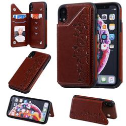 Yikatu Luxury Cute Cats Multifunction Magnetic Card Slots Stand Leather Back Cover for iPhone Xr (6.1 inch) - Brown