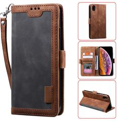 Luxury Retro Stitching Leather Wallet Phone Case for iPhone Xr (6.1 inch) - Gray