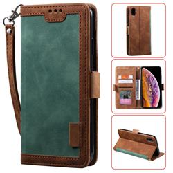 Luxury Retro Stitching Leather Wallet Phone Case for iPhone Xr (6.1 inch) - Dark Green