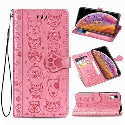 Embossing Dog Paw Kitten and Puppy Leather Wallet Case for iPhone Xr (6.1 inch) - Pink