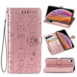 Embossing Dog Paw Kitten and Puppy Leather Wallet Case for iPhone Xr (6.1 inch) - Rose Gold