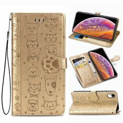 Embossing Dog Paw Kitten and Puppy Leather Wallet Case for iPhone Xr (6.1 inch) - Champagne Gold