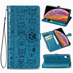 Embossing Dog Paw Kitten and Puppy Leather Wallet Case for iPhone Xr (6.1 inch) - Blue