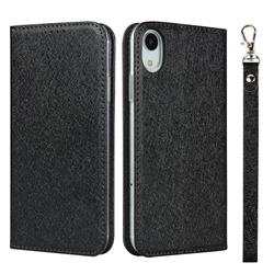 Ultra Slim Magnetic Automatic Suction Silk Lanyard Leather Flip Cover for iPhone Xr (6.1 inch) - Black
