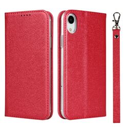 Ultra Slim Magnetic Automatic Suction Silk Lanyard Leather Flip Cover for iPhone Xr (6.1 inch) - Red