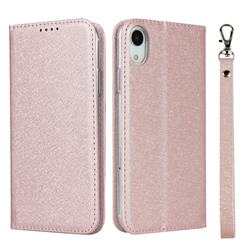 Ultra Slim Magnetic Automatic Suction Silk Lanyard Leather Flip Cover for iPhone Xr (6.1 inch) - Rose Gold