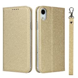 Ultra Slim Magnetic Automatic Suction Silk Lanyard Leather Flip Cover for iPhone Xr (6.1 inch) - Golden