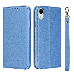 Ultra Slim Magnetic Automatic Suction Silk Lanyard Leather Flip Cover for iPhone Xr (6.1 inch) - Sky Blue