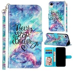 Blue Starry Sky 3D Leather Phone Holster Wallet Case for iPhone Xr (6.1 inch)