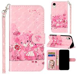 Pink Bear 3D Leather Phone Holster Wallet Case for iPhone Xr (6.1 inch)