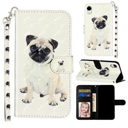 Pug Dog 3D Leather Phone Holster Wallet Case for iPhone Xr (6.1 inch)
