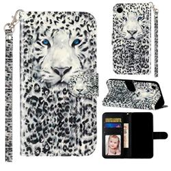 White Leopard 3D Leather Phone Holster Wallet Case for iPhone Xr (6.1 inch)