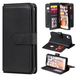 Multi-function Ten Card Slots and Photo Frame PU Leather Wallet Phone Case Cover for iPhone Xr (6.1 inch) - Black