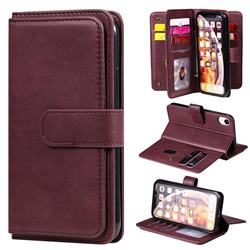 Multi-function Ten Card Slots and Photo Frame PU Leather Wallet Phone Case Cover for iPhone Xr (6.1 inch) - Claret