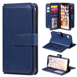 Multi-function Ten Card Slots and Photo Frame PU Leather Wallet Phone Case Cover for iPhone Xr (6.1 inch) - Dark Blue