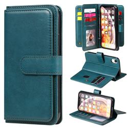 Multi-function Ten Card Slots and Photo Frame PU Leather Wallet Phone Case Cover for iPhone Xr (6.1 inch) - Dark Green
