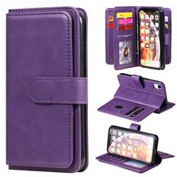 Multi-function Ten Card Slots and Photo Frame PU Leather Wallet Phone Case Cover for iPhone Xr (6.1 inch) - Violet