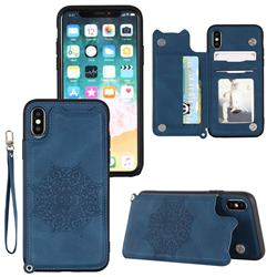 Luxury Mandala Multi-function Magnetic Card Slots Stand Leather Back Cover for iPhone Xr (6.1 inch) - Blue