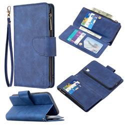 Binfen Color BF02 Sensory Buckle Zipper Multifunction Leather Phone Wallet for iPhone Xr (6.1 inch) - Blue