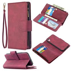 Binfen Color BF02 Sensory Buckle Zipper Multifunction Leather Phone Wallet for iPhone Xr (6.1 inch) - Red Wine