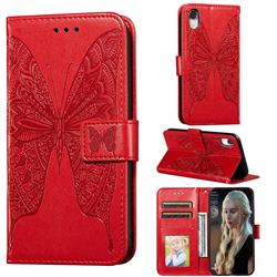 Intricate Embossing Vivid Butterfly Leather Wallet Case for iPhone Xr (6.1 inch) - Red