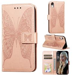 Intricate Embossing Vivid Butterfly Leather Wallet Case for iPhone Xr (6.1 inch) - Rose Gold