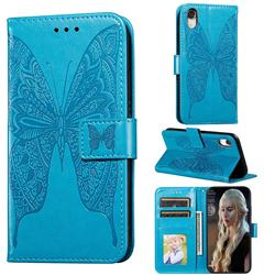 Intricate Embossing Vivid Butterfly Leather Wallet Case for iPhone Xr (6.1 inch) - Blue