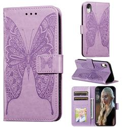 Intricate Embossing Vivid Butterfly Leather Wallet Case for iPhone Xr (6.1 inch) - Purple