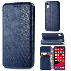 Ultra Slim Fashion Business Card Magnetic Automatic Suction Leather Flip Cover for iPhone Xr (6.1 inch) - Dark Blue