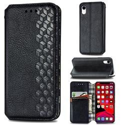 Ultra Slim Fashion Business Card Magnetic Automatic Suction Leather Flip Cover for iPhone Xr (6.1 inch) - Black