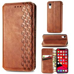 Ultra Slim Fashion Business Card Magnetic Automatic Suction Leather Flip Cover for iPhone Xr (6.1 inch) - Brown